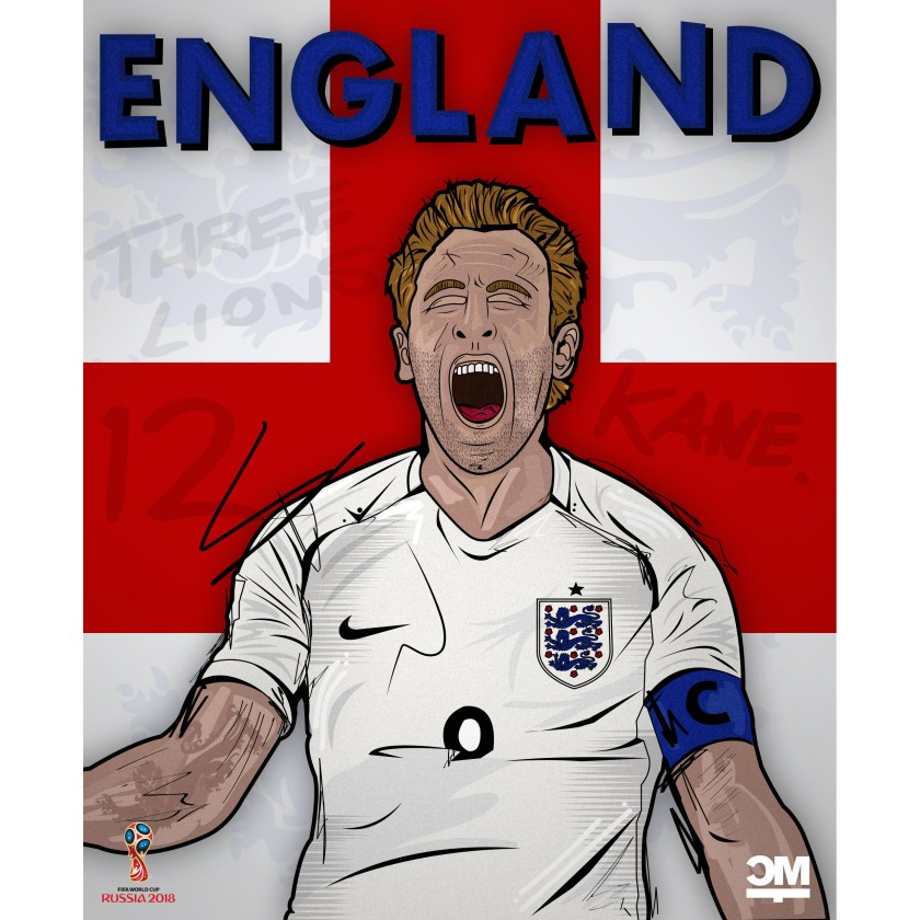 Der Superstar der Three Lions. Eine Illustration des Torjägers aus England - Harry Kane