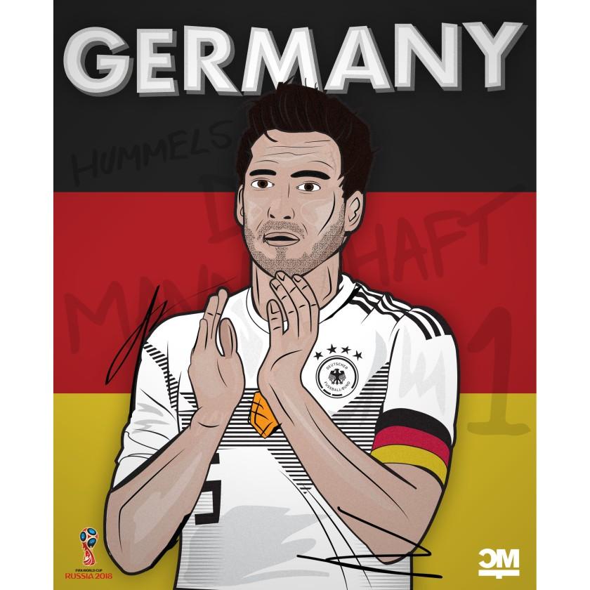Eine Illustration von Mats Hummels. Im Hintergrund die Farben der Deutschen Flagge - Schwarz - Rot - Gold.