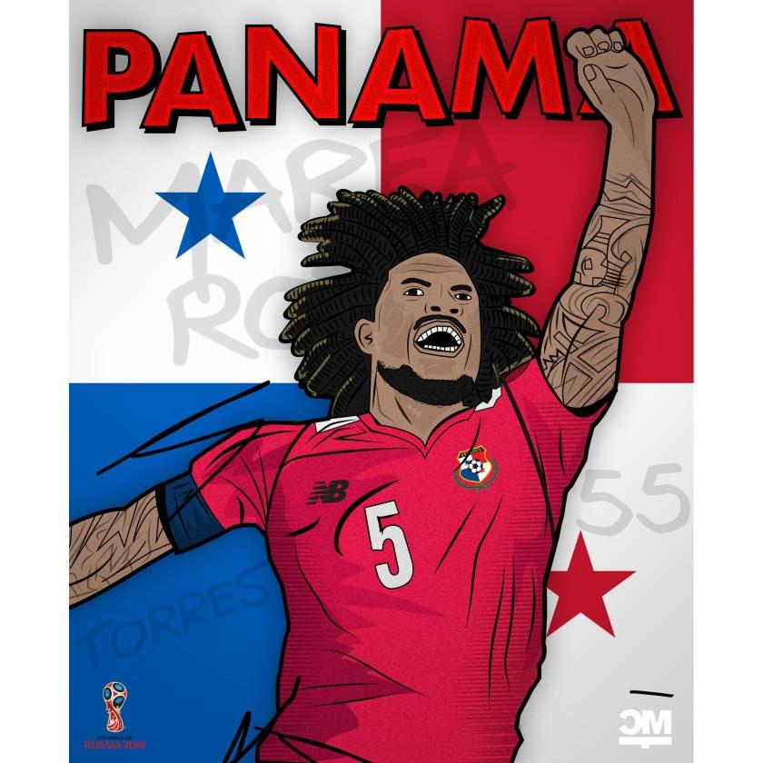 Illustration des Panamaer Román Torres der auf dem Bild jubelt.