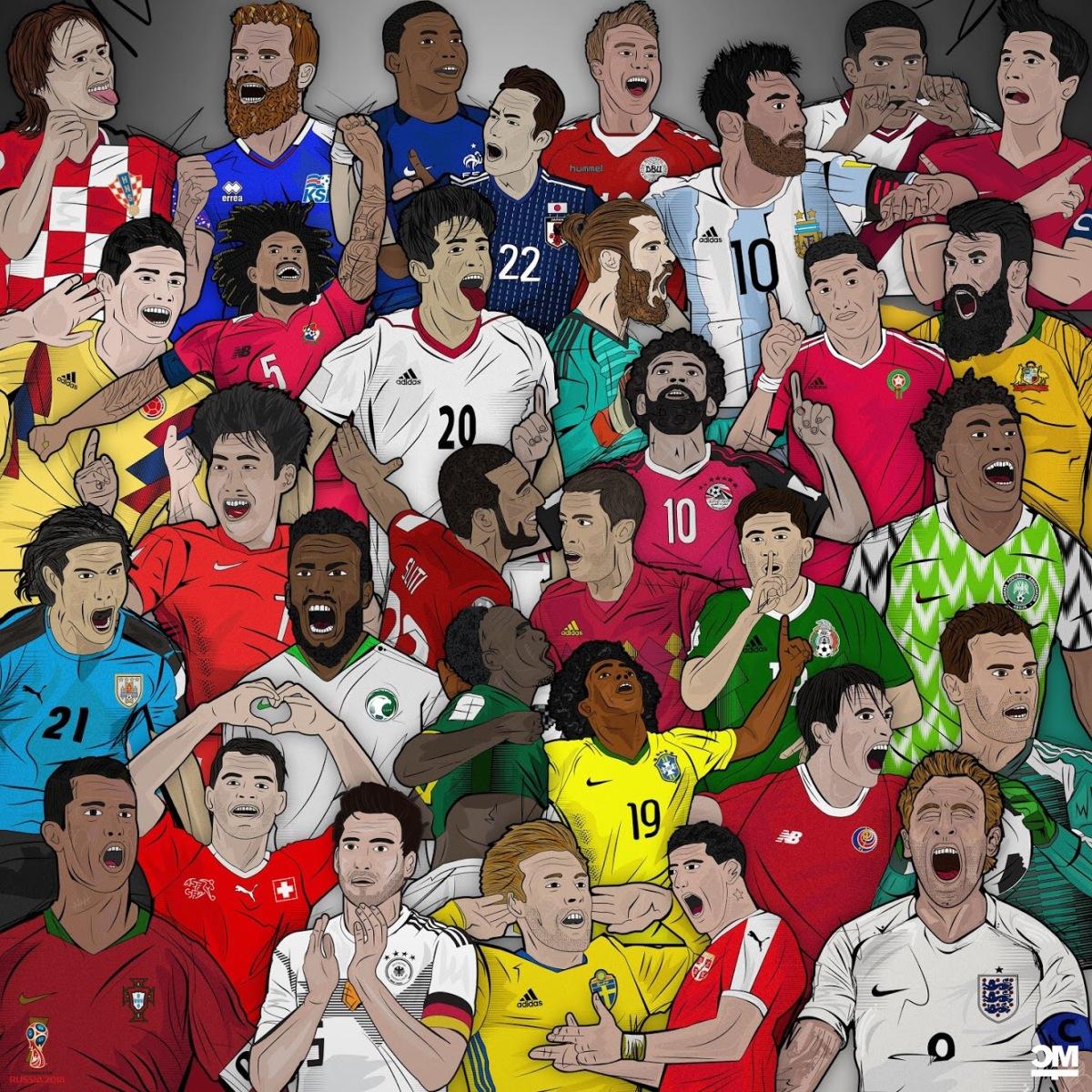Ansammlung Fußballer WM 2018